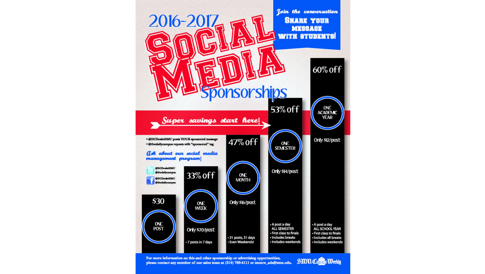 Social media sponsorship flier